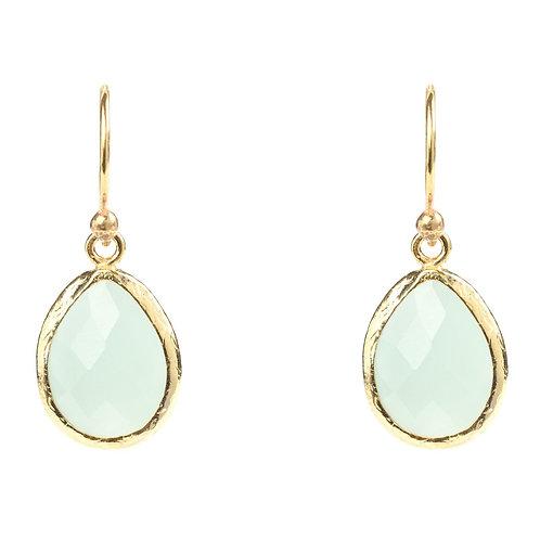 Petite Drop Earring Aqua Chalcedony Gold