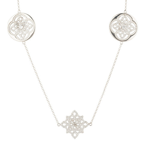 Celtic Knot Long Disc Necklace Silver