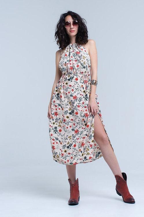 Beige Floral High Neck Cut Out Midi Dress Q2- AVICII SWISS COLLABORATION