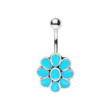 316L Stainless Steel Teal Blue Flower Navel Ring