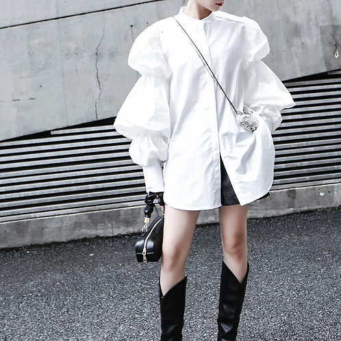 Daoko Pleated Puff Long Sleeve Shirt - White