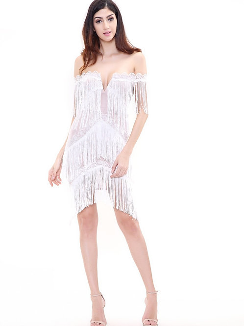 White Fringe Dress AVICII SWISS Evelyn Belluci Collaboration