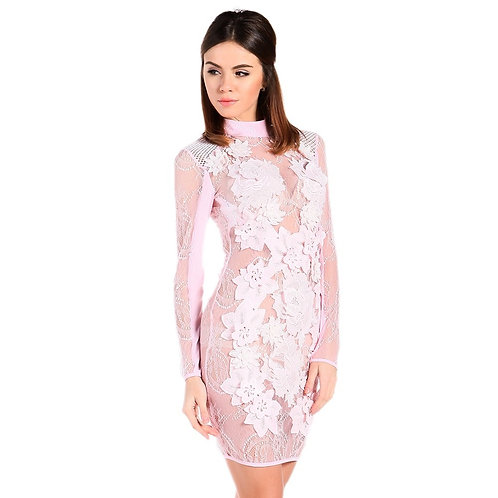 Pink Sheer Party Dress AVICII SWISS Evelyn Belluci Collaboration