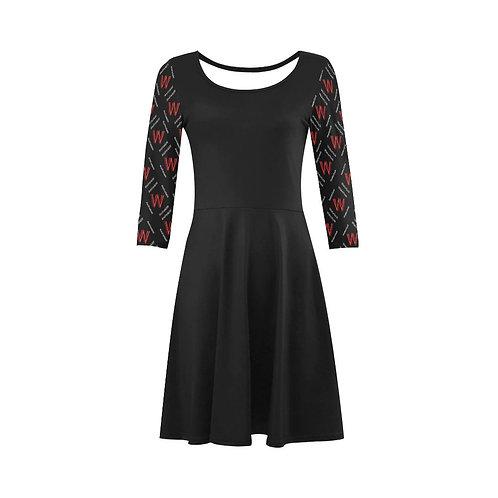 Fashion Black 3/4 Sleeve Sundress