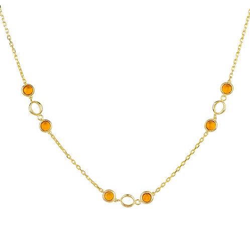 Milan Link Gemstone Necklace Gold Citrine