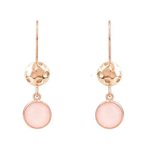 Circle & Hammer Earrings Rosegold Rose Quartz