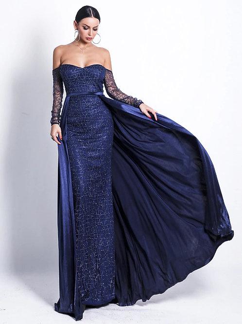 Blue Off Shoulder Gown AVICII SWISS Evelyn Belluci Collaboration