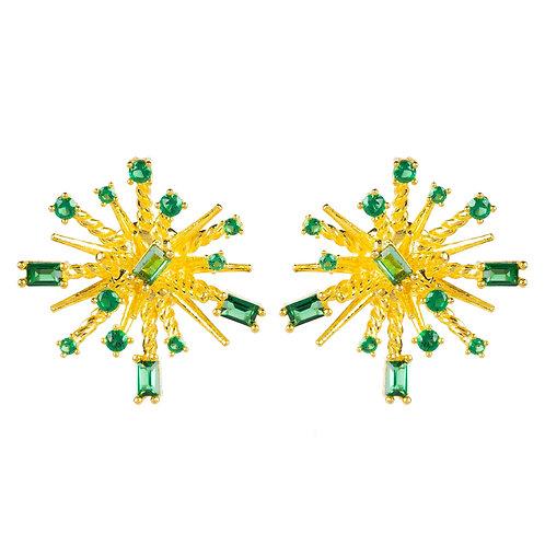 Cosmic Bang Baguette CZ Stud Earring Green CZ
