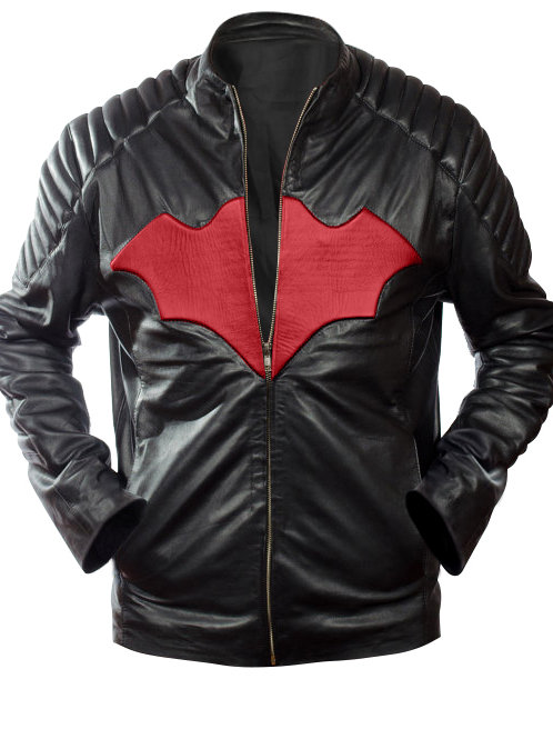 Men Bat Black Leather Jacket