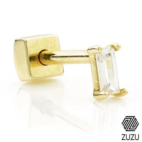9ct Gold CZ Rectangle Cartilage Bar