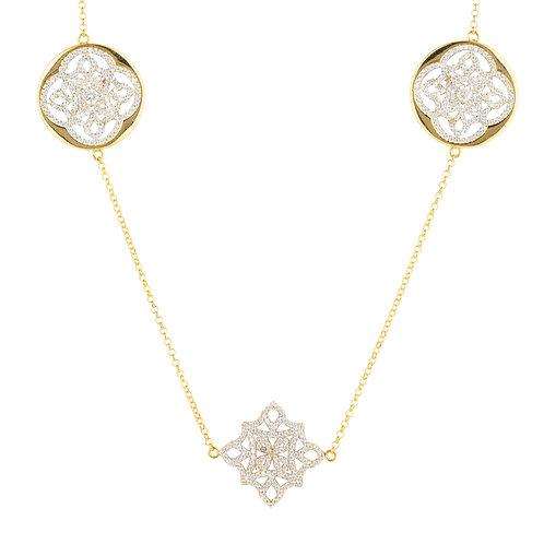 Celtic Knot Long Disc Necklace Gold