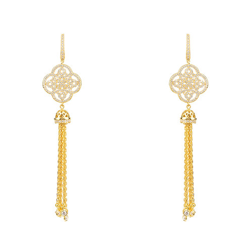 Celtic Knot Tassel Earrings Gold