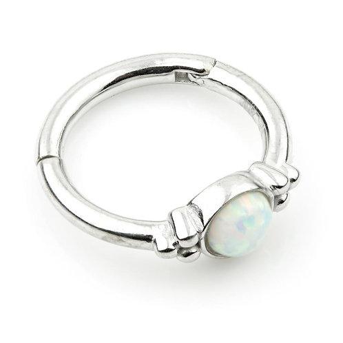 9ct White Gold Opal & Tri-Ball Hinge Ring (1.2mm)