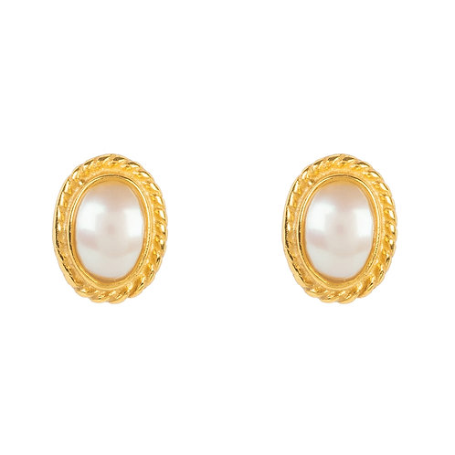 Birthstone Gold Gemstone Stud Earring  June Pearl