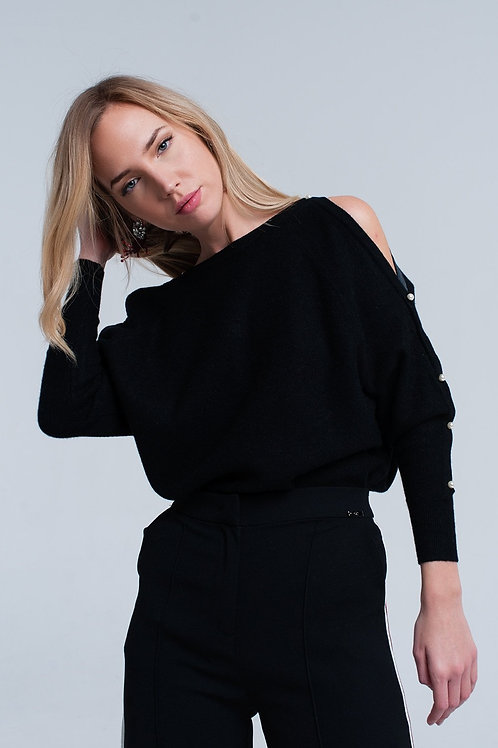 Black Knitted Sweater With Pearl Detail Q2-AVICII SWISS Collaboration