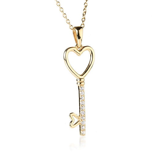 Gold Vermeil Crystal Key 2 My Heart Pendant Necklace