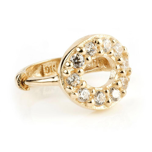 9ct Gold Open Circle Pave Crystal Cartilage Huggie Earring