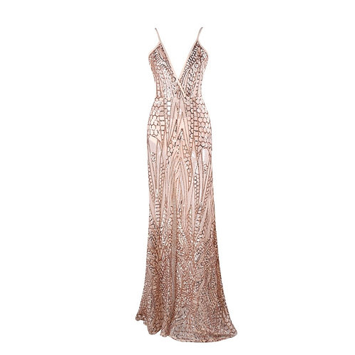Gold Sequin Evening Gown AVICII SWISS Evelyn Belluci Collaboration