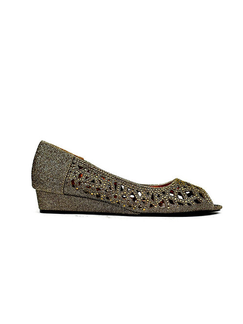 Indi Low Wedge Perforated Sandal Bronze