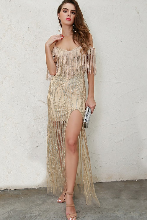 Gold High Split Glitter Maxi AVICII SWISS Evelyn Belluci