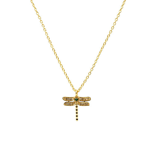 Diamond & Emerald Dragonfly Necklace Gold