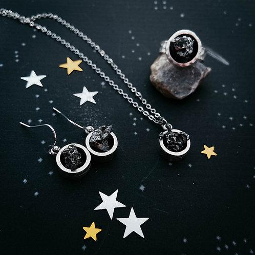 Chunky Round Authentic Meteorite Jewelry Set