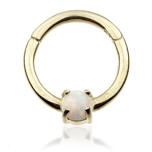 9ct Gold 8mm Hinge Ring With Opal (1.2mm)