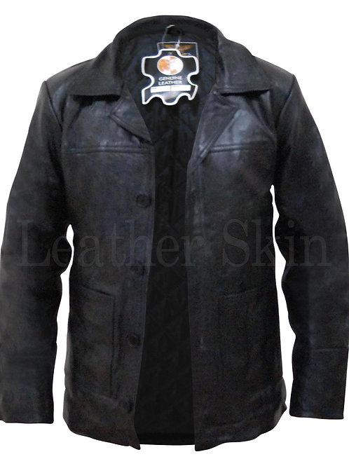 Men Black Genuine Leather Jacket Coat