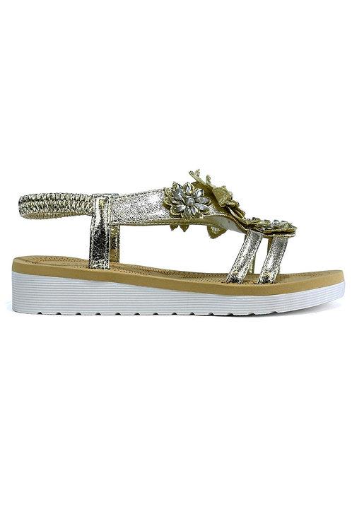 Girl's Dual Strap Open Toe Flower Summer Sandal Gold