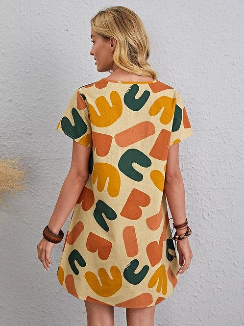 AVICII SWISS Notched Letter Graphic Tunic Dress