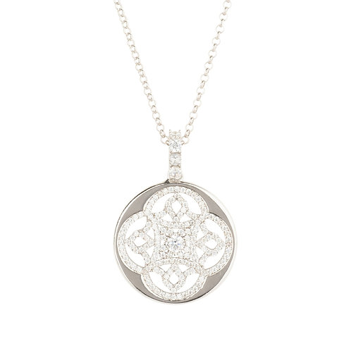 Celtic Knot Disc Pendant Necklace Silver