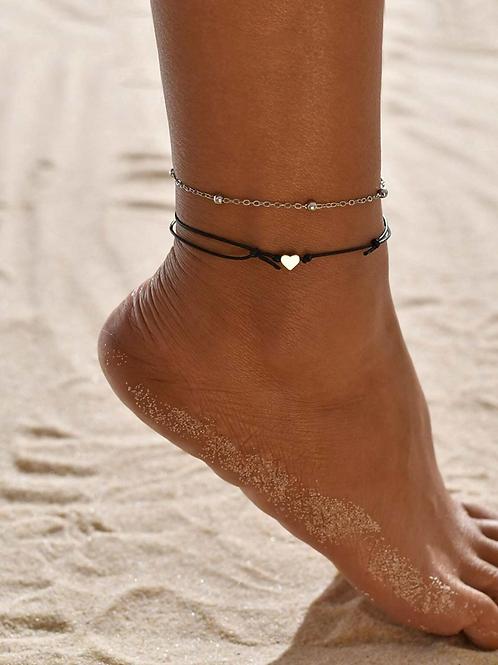 Boho Multi Layer Heart Anklet Ankle Bracelet