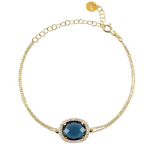 Beatrice Oval Gemstone Bracelet Gold Sapphire Hydro