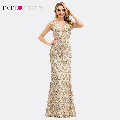 Luxury Evening Dresses V-Neck Tassel Sequined Sexy Rose Gold Mermaid Party Gown