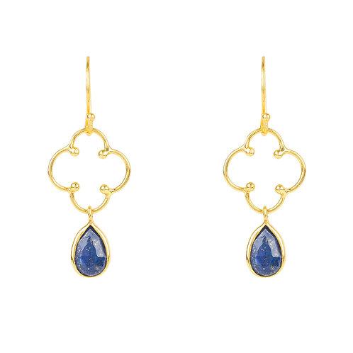 Open Clover Gemstone Drop Earring Gold Lapis Lazuli