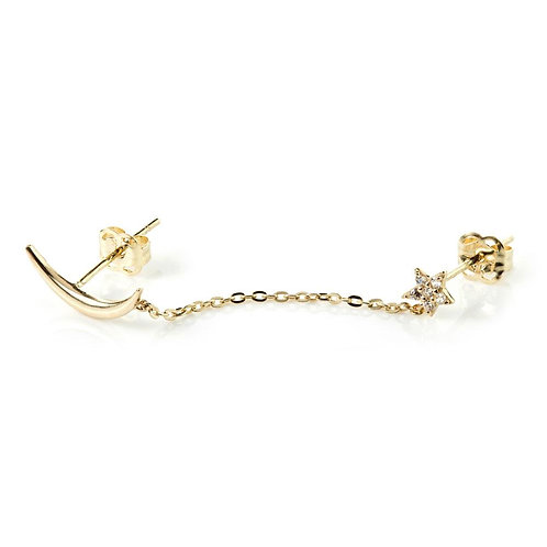 9ct Gold Moon & Pave Crystal Star Chain Linked Stud Earring