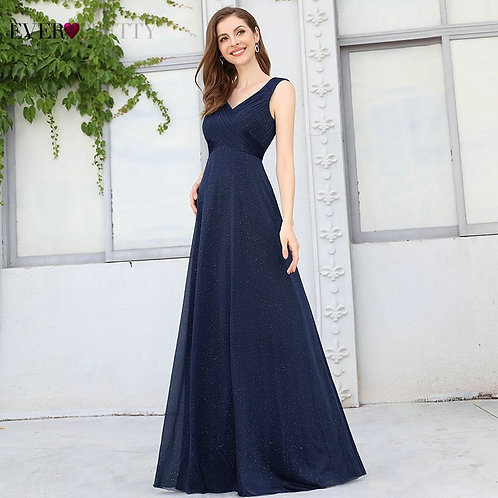 Evening Gowns Navy Blue Elegant a Line v Neck Cap Sleeve Pleated Glitter