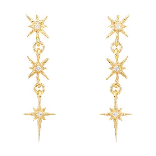Star Burst Triple Drops Earrings Gold