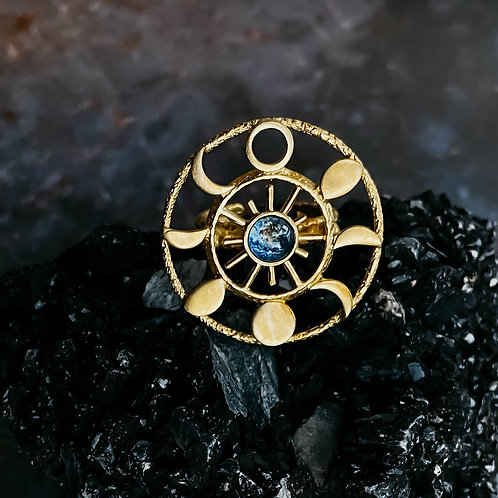 Large Gold Moon Phase Statement Cocktail Ring