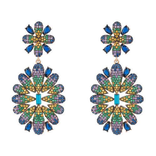 Babylon Multicoloured Flower Drop Earring Rosegold