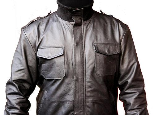 Men Black Genuine Leather Jacket