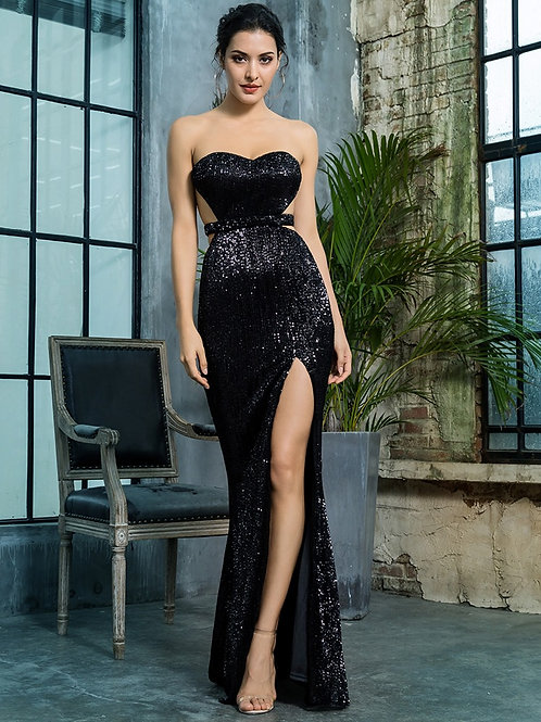 Black Sequin Gown AVICII SWISS - Evelyn Belluci Collaboration