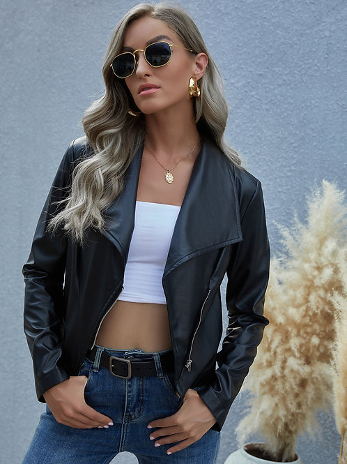AVICII SWIS  PU Waterfall Collar Moto Jacket