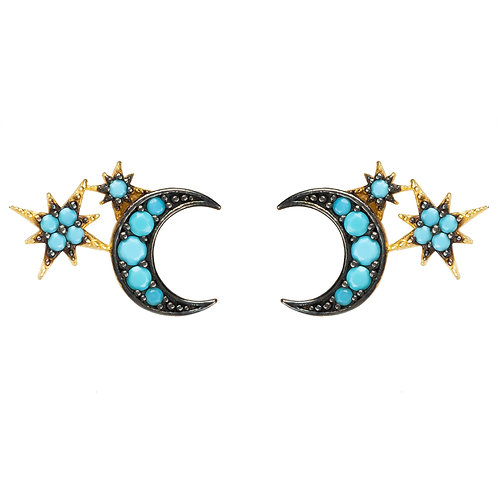 Moon and Starburst Small Stud Earrings Turquoise