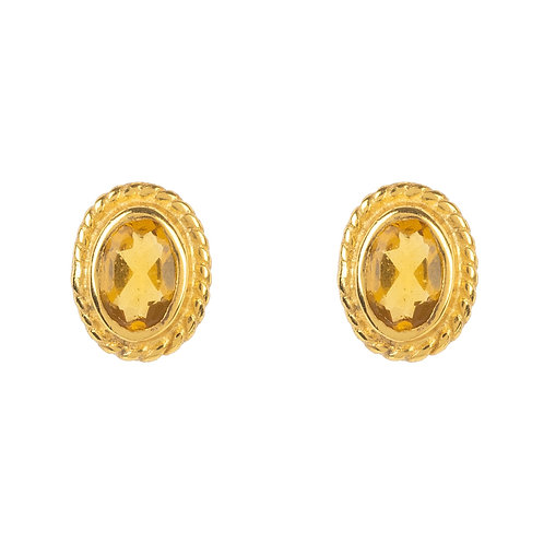 Birthstone Gold Gemstone Stud Earring  November Citrine