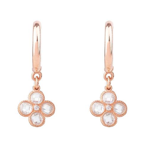 Flower Clover Small Drop Earrings Rosegold