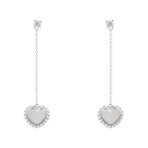Heart Mirrored Drop Earrings Silver