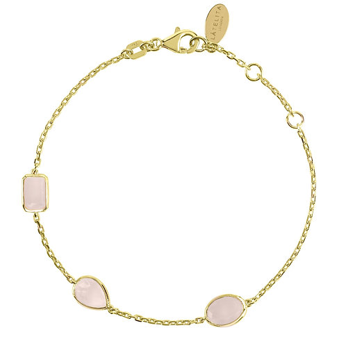 Venice Bracelet Gold Rose Quartz