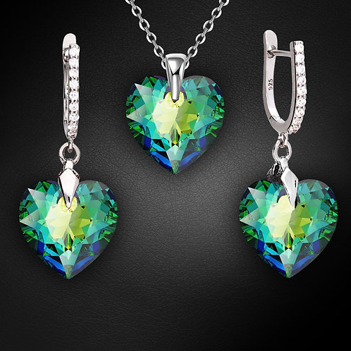 """925 Sterling Silver Jewelry Set """"Romantic Heart III R (Vitrail Medium)"""" with Cry"""