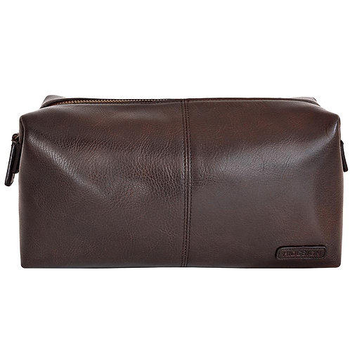 Charles Leather Shave Toilet/Travel Kit With Waterproof Interior